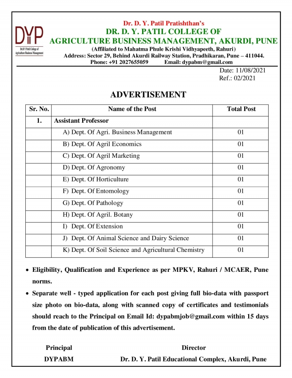 Advertisement for the post of Assistant Professor